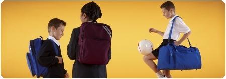 School wear bags, sports bags, book bags, PE bags, pump bags, backpacks, satchells, holdalls in school uniform colours