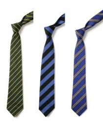 School uniform stock ties, thin stripe, broad stripe, double stripe, school colours, school wear supplier