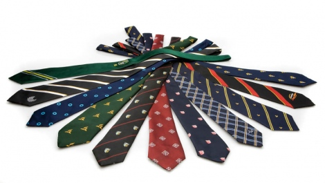 School uniform ties, custom design, stripes and badged with school badge or motif