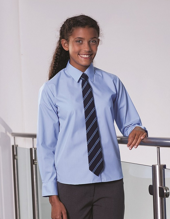 4a9e57673 Girls school blouse with tie collar and long sleeves. Girls school blouse  with tie collar and long sleeves
