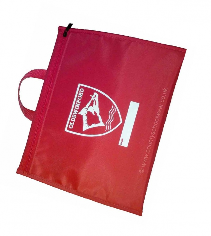 dd1ea6f3ff2 Oldswinford CofE Primary School A4 Zipped Book Bag Red with Logo Print.  Oldswinford CofE Primary School A4 Zipped Book Bag Red with Logo Print