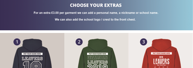 Leaver Hoodies 2019 Extra Print and Embroidery Options