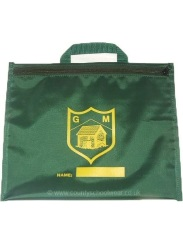 School bookbag bespoke with zip and logo print