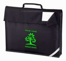 School book bag with school logo print and name card