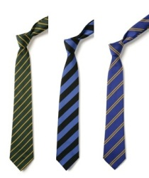School uniform stock ties, thin stripe, broad stripe, double stripe, school colours, school wear supplier
