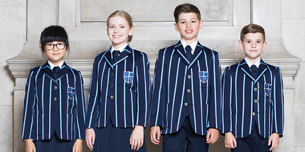 Navy / Sky Blue Venetian Stripe Wool Cotton Bespoke School Blazers and Jackets