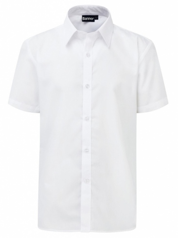 School White Shirt Slim Fit Boys Mens Shirt Short Sleeve