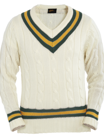 Cricket Sports NEW PULLOVER V-NECK SWEATER JUMPER GREEN//AMBER