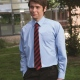 Boys school shirt with tie collar and long sleeves in Blue