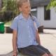 Gingham school blouse short sleeve revere collar