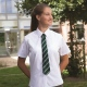 Girls school blouse with tie collar, short sleeves in White and Blue