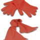 School gloves and scarf set, knitted acrylic in school colours, junior & senior