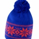 School knitted Fair Isles hat, traditional pattern, ear protection, pompom