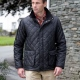 Diamond quilted padded jacket, corduroy collar, patch pockets, taffeta polyester