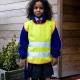 School wear hi vis tabard in fluorescent yellow with orange bound seams