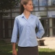 Fitted School Uniform Blouse 3/4 Sleeve Open Revere Collar
