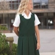 School pinafore, double box pleat, one shoulder fastening, fully lined bodice