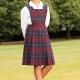 Junior school uniform tartan pinafore dress adjustable elasticated waist