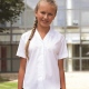 White fitted school uniform blouse short sleeves  and revere collar