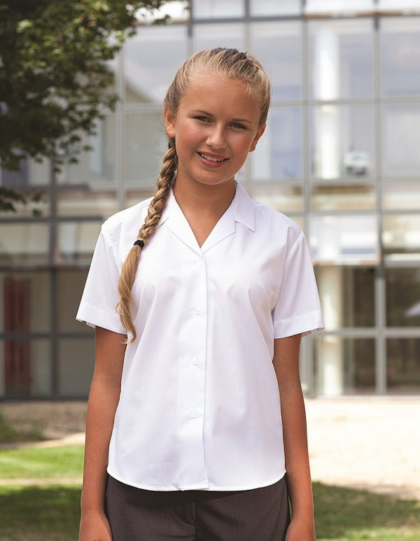 fa323f0ffdffc1 White fitted school uniform blouse short sleeves and revere collar. White  fitted school uniform blouse short sleeves and revere collar